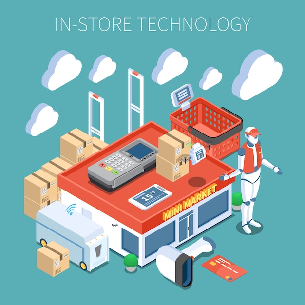 Shop technology supermarket of future colored composition with  surveillance system flying inventory scanner robot consultant isometric icons Free Vector