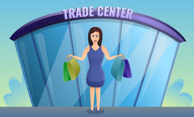 Shop trade center concept banner, cartoon style Premium Vector