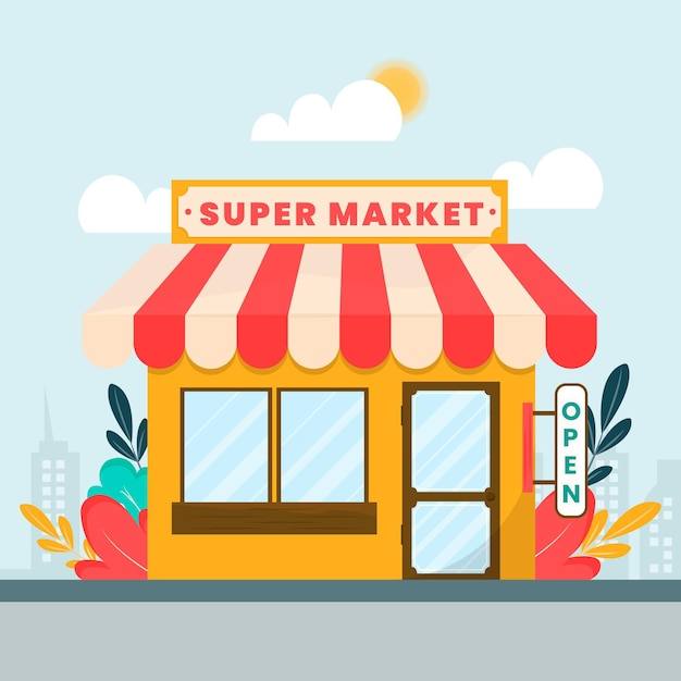 Shop with the sign we are open Free Vector