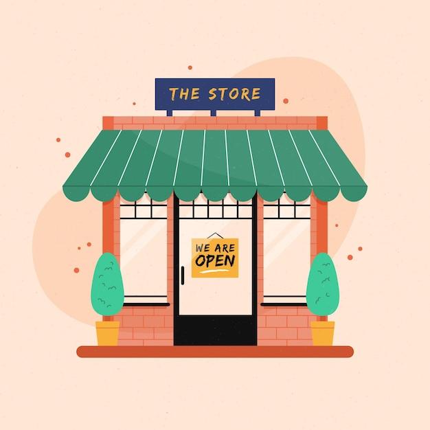 Магазин со знаком мы открыты Premium векторы