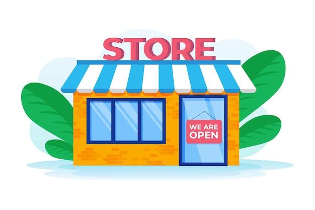Магазин со знаком мы открыты Бесплатные векторы