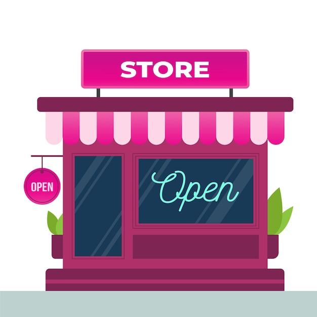 Магазин с открытым знаком Бесплатные векторы