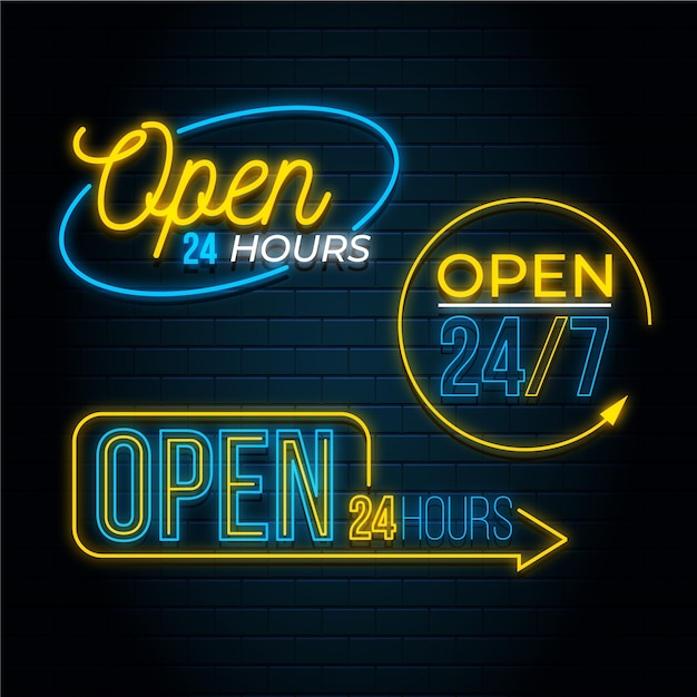 Shop with we are open sign in neon lights Free Vector