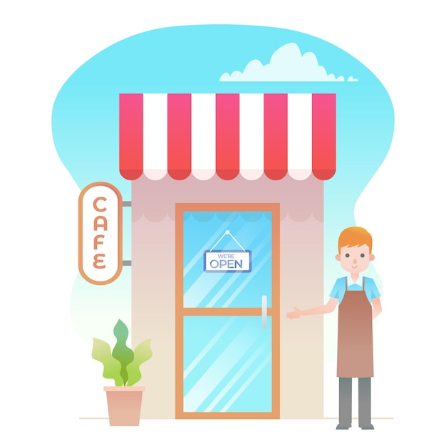 Shop with we are open sign and seller Free Vector