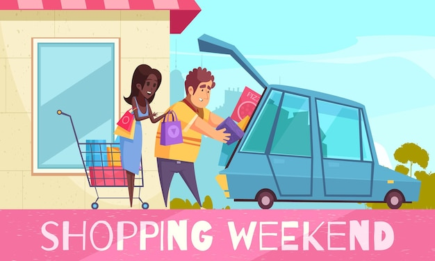 Shopaholic composition with text and cartoon style  couple putting colourful goods boxes into car Free Vector
