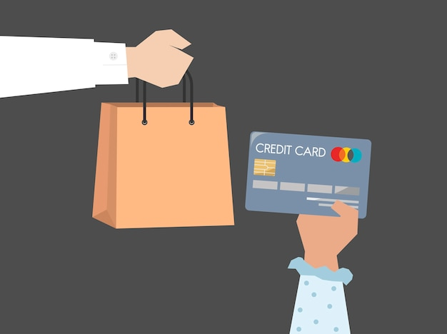 Shopper paying by credit card illustration Free Vector