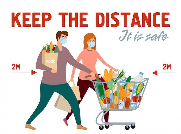 Покупатели защищены от коронавируса. держать безопасное расстояние между людьми. держите дистанцию. мужчина женщина в продуктовый магазин корзину с едой. девочка и мальчик по магазинам в защитных масках. Premium векторы