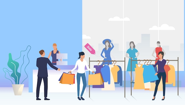 Shoppers choosing and buying clothes in shop Free Vector