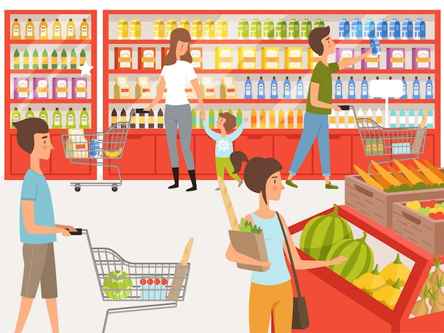Shoppers in supermarket. illustrations of peoples near shelves of store Premium Vector
