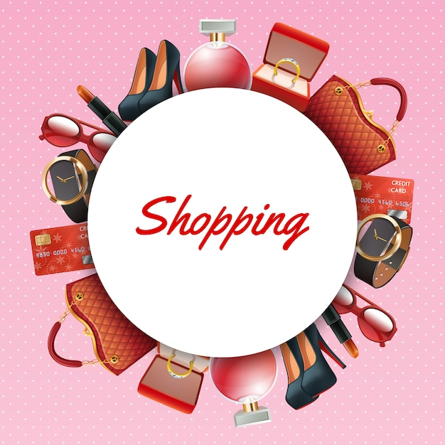 Shopping accessories frame Free Vector