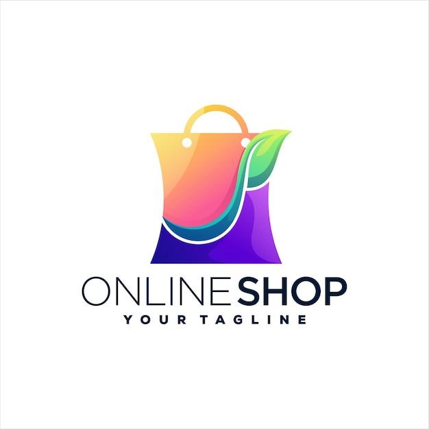 ショッピングバッグのグラデーションのロゴデザイン Premiumベクター