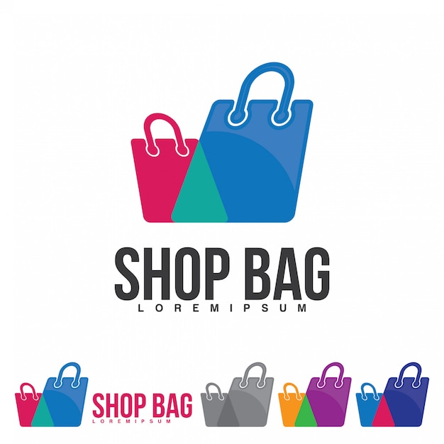 Shopping bag logo icon for online shop logo and others Premium Vector