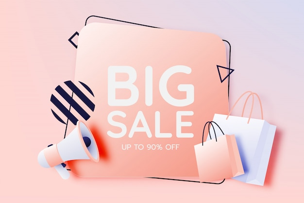 Shopping bag and megaphone for sale banner Premium Vector