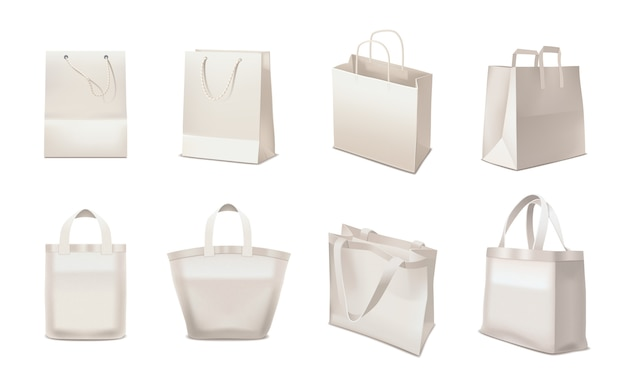Shopping bag realistic set Free Vector