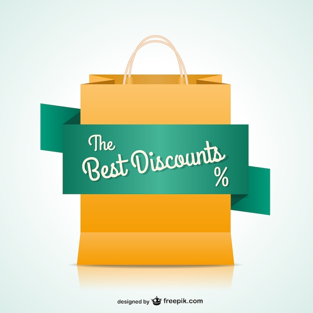 Shopping bag with discount banner Vector | Free Download