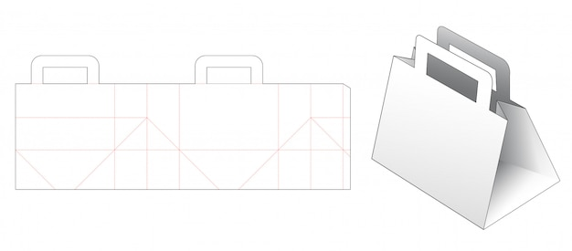 Shopping bag with holder die cut template Premium Vector