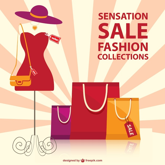 Shopping bags and dressed mannequin Free Vector