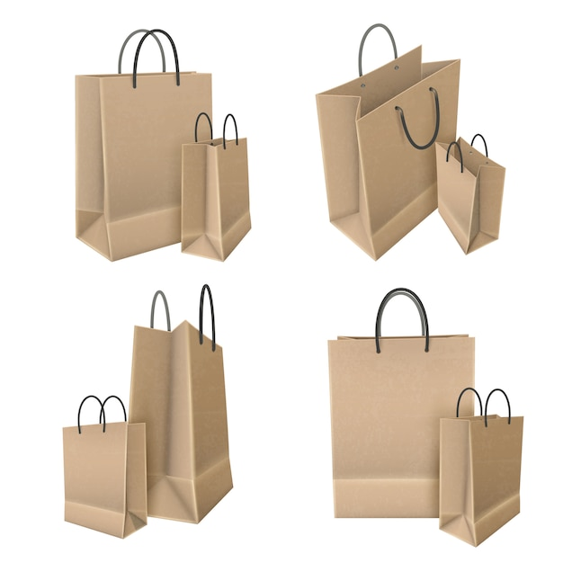Shopping bags from craft paper set Free Vector