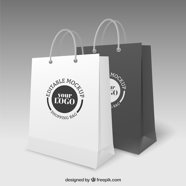 Shopping bags mockup Free Vector