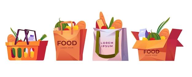 Сумки для покупок, корзина из супермаркета и ящик с продуктами. Бесплатные векторы