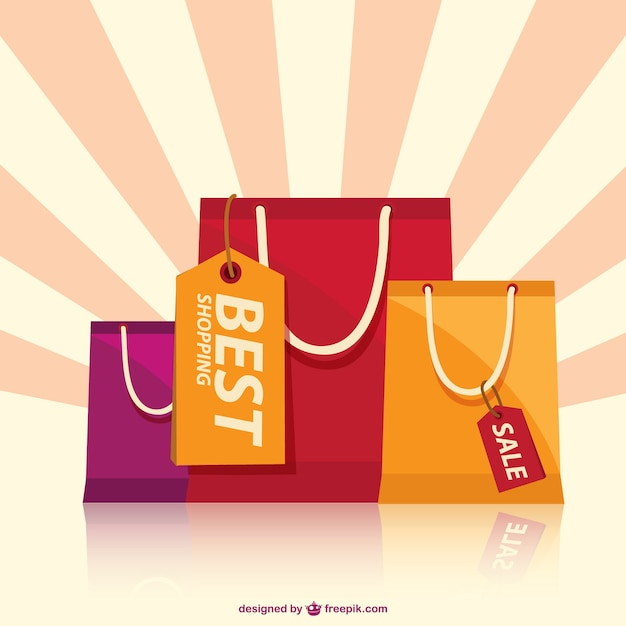 Shopping bags with sunburst background Vector | Free Download
