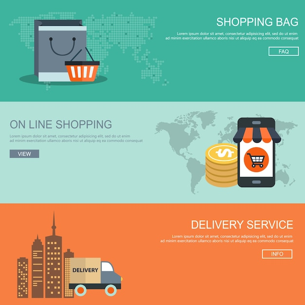 Shopping banner set Free Vector