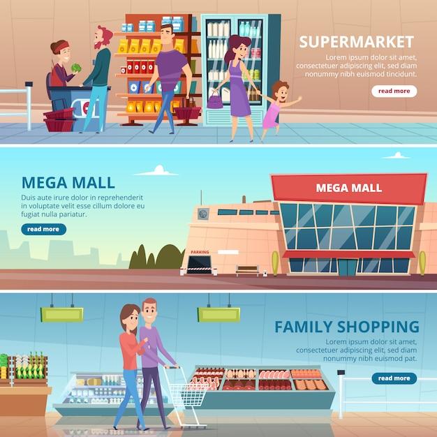 ショッピングバナー。食料品市場の人々グルメ小売店の棚モールインテリアイラスト Premiumベクター