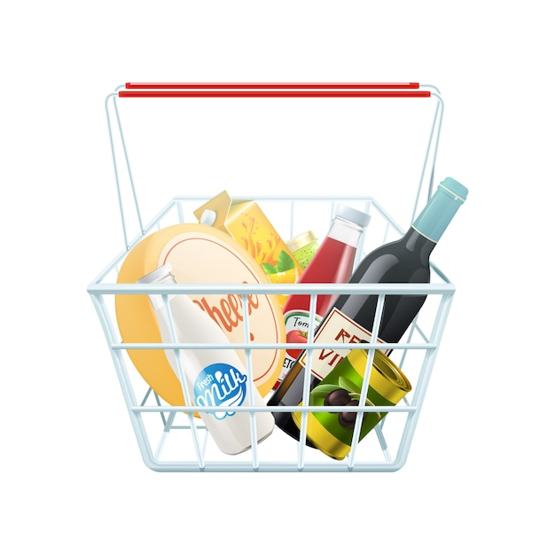 Shopping basket concept with wine cheese and ketchup realistic vector illustration Free Vector
