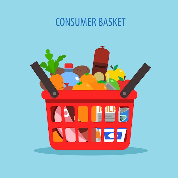 Shopping basket flat concept Free Vector