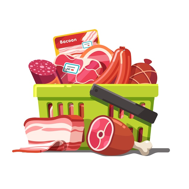 Shopping basket full of meat. raw and prepared Free Vector