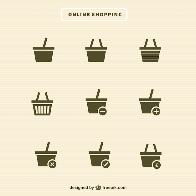 Shopping basket icons collection Free Vector