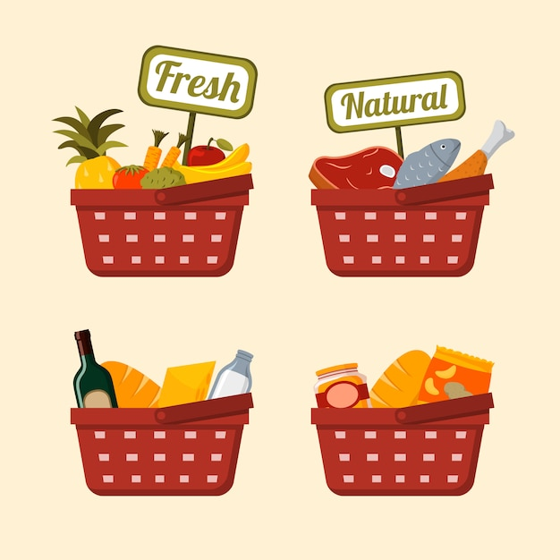Shopping basket set with foods Free Vector