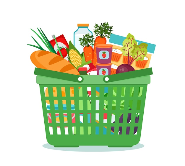 Shopping basket with food vector illustration. cart with product buy in supermarket. vector illustration Free Vector