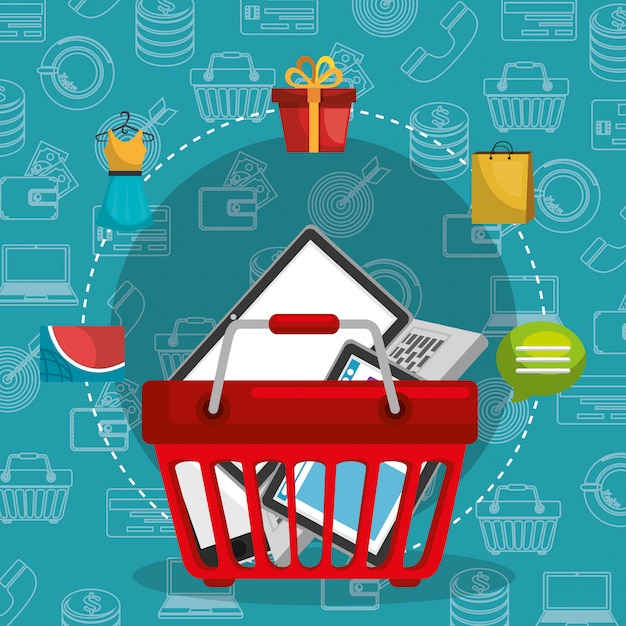 Shopping basket with marketing set icons Free Vector