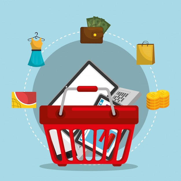 Shopping basket with marketing set Free Vector