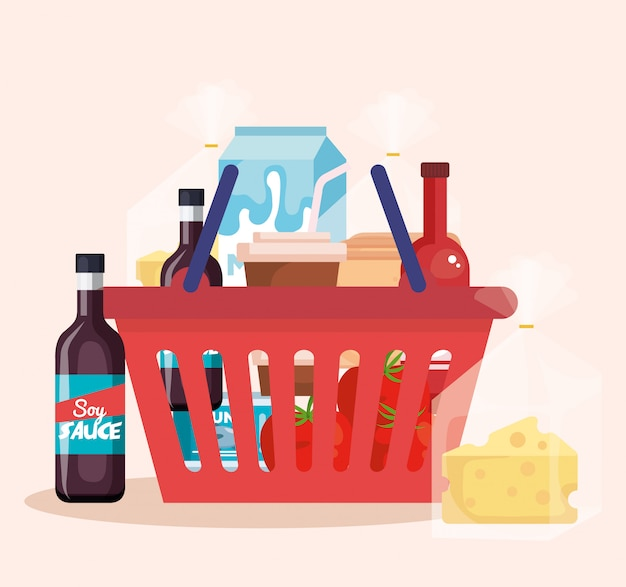 Shopping basket with products Free Vector