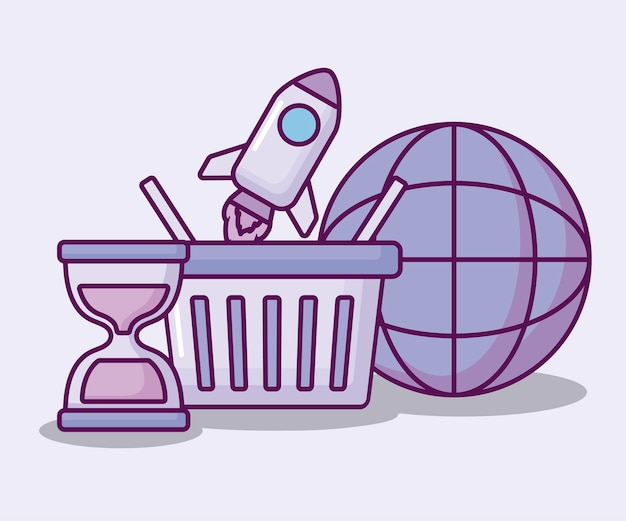 Shopping basket with set icons economy Free Vector