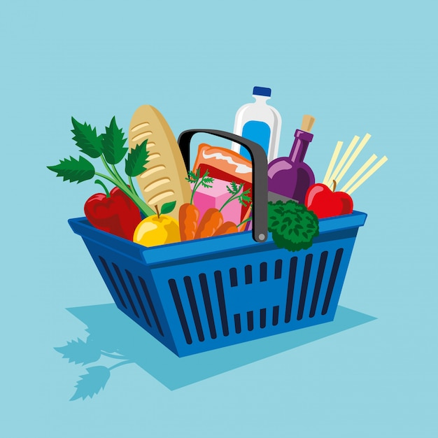 Shopping basket with vegetables and fruits supplies Premium Vector