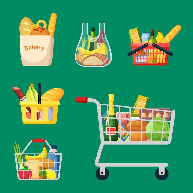 Набор корзин и сумок. бакалейные пластиковые металлические контейнеры с колесами и ручками спелые Premium векторы
