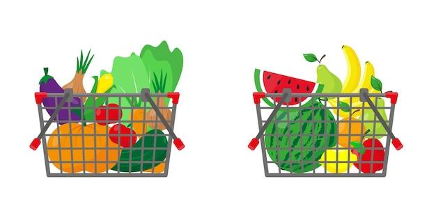 Корзины для покупок с фруктами и овощами. еда в корзине. Premium векторы