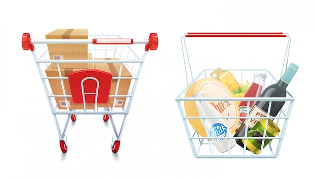 Shopping cart and basket set Free Vector