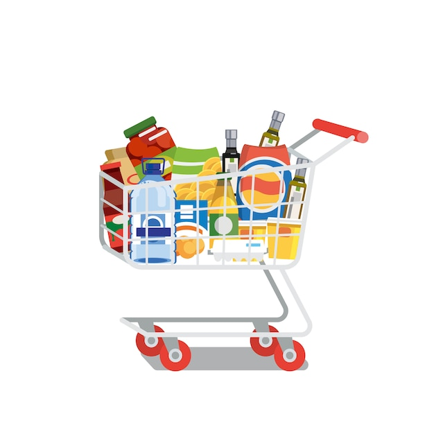 Shopping cart full of food isolated flat vector Premium Vector