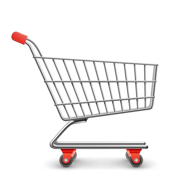 Shopping cart realistic Free Vector
