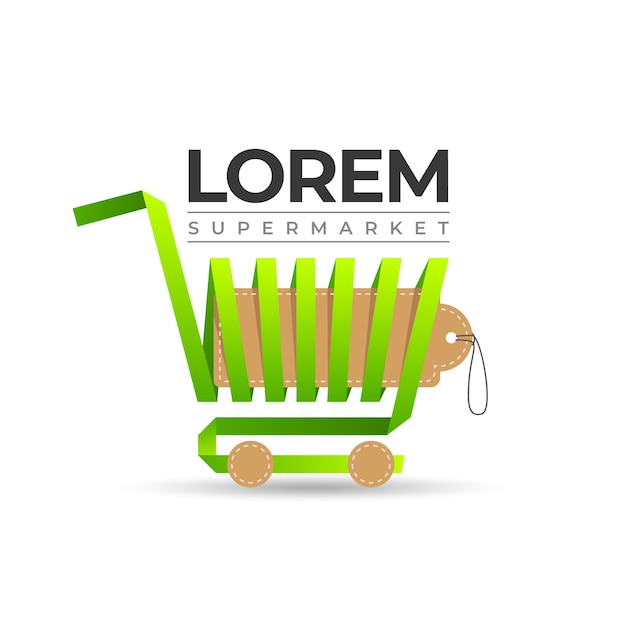 Shopping cart supermarket logo Free Vector