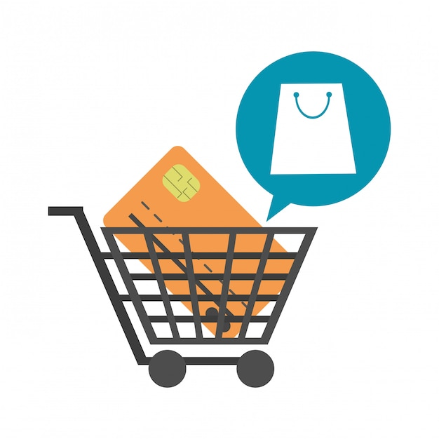 Shopping cart with credit card Premium Vector