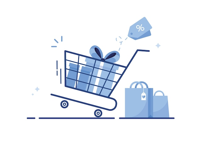 Shopping cart with gift boxes and shopping bags from online shop for e-commerce marketing, provided with sale and discount. blue Premium Vector
