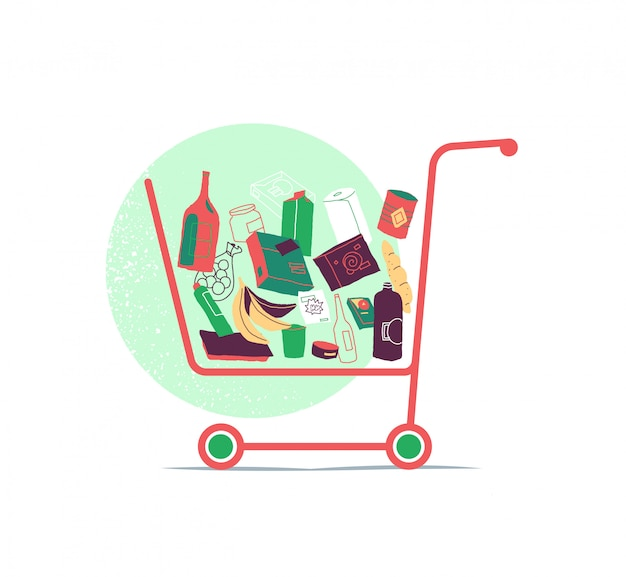 Shopping cart with many products inside the basket Premium Vector