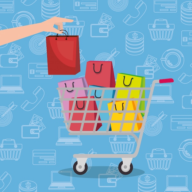 Shopping cart with marketing set icons Free Vector
