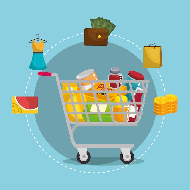Shopping cart with marketing set Free Vector