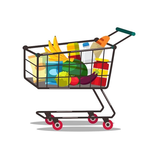 Корзина с иллюстрацией продуктов. покупая еду. супермаркет, тележка для продуктовых магазинов. закупка свежих овощей и фруктов. молочные продукты, крупы. здоровое питание, питание Premium векторы
